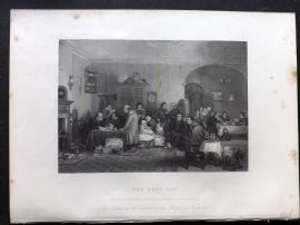 After David Wilkie 1846 Folio Antique Print. The Rent Day